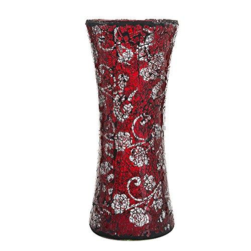 Mozaïekbloemenvaas met glinsterende glitter, cadeau, cilinderrood
