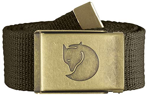 Fjällräven Herren Gürtel Canvas Brass Belt 4 cm, Dark Olive, One size