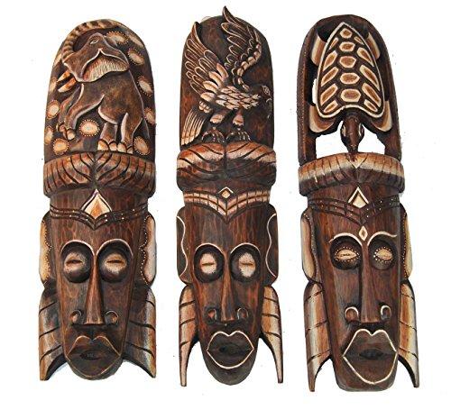 3 en la pared de máscaras de 50 cm y en el diseño de África con diseño de gran en la pared de la máscara de la máscara de madera con diseño de máscara de