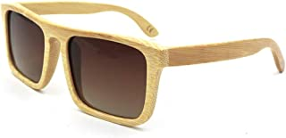 LUKEEXIN Outdoor Travel Square Bamboo Sunglasses, Polarized Retro for Women/Men (Color : Brown)