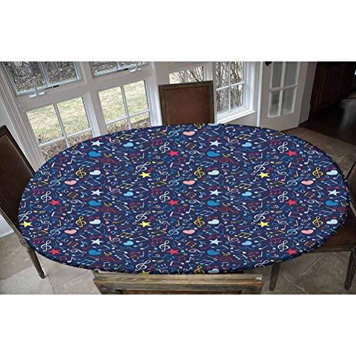LCGGDB Housse de table élastique en polyester - Motifs cœurs et notes - Inspiration mélodique - Motif : Rhythm in My Heart - Pour table jusqu'à 121,9 cm de large x 172,7 cm de long