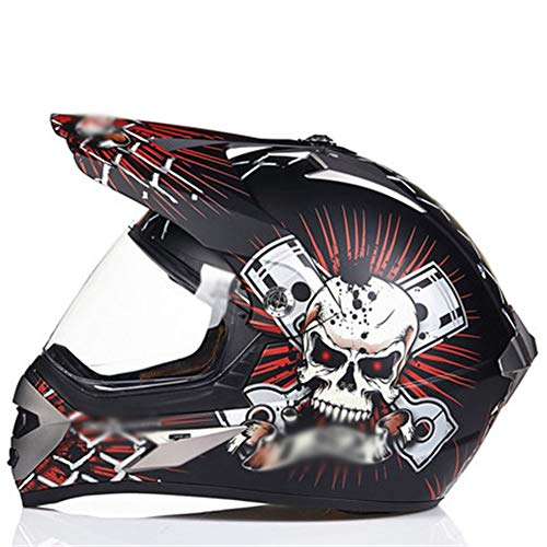 XIUYJBD Motorcrosshelm voor volwassenen, voor motorcross, raad, racehelm, quad, volledige gezichtsmotorhelm, integraalhelm voor mannen en vrouwen, maat 55-61 cm