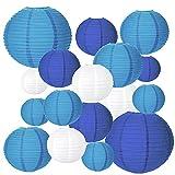 MEZOOM - Linterna de Papel, 20 Unidades, diseño Redondo, Color Azul, Varios tamaños, para Colgar Decoraciones para jardín, cumpleaños, Familia, reunión, Patio, decoración