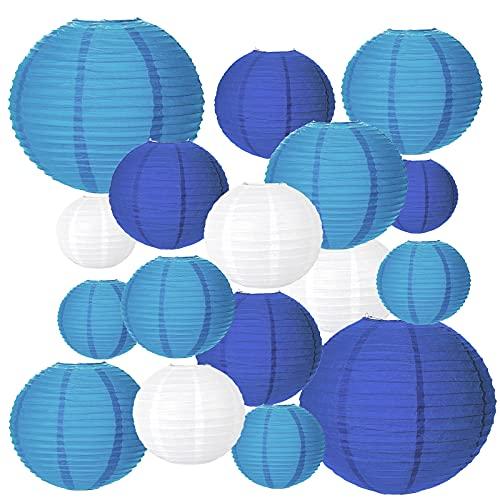 MEZOOM 20Pcs Lampions Colorés en Papier Blanc Bleu Violet Chinoises Boule Papier Lanternes Asiatique Suspension Décoration pour Intérieurs Extérieurs Mariage Nouveau an Fête Bébé Bapteme 4Taille