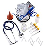GSSFASHION Puppy Kitten Whelping Kit, Whelping Kit with Feeding Nipple Bottle Stethoscope Scissors Cord Clamps Aspirator etc Full kit