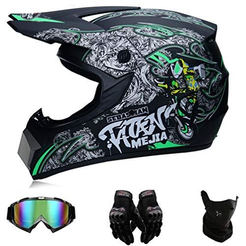 Amacigana® Adult Downhill Helme,Motocross Helm Set mit Brille Handschuhe,Jugend Sturzhelm Schutzhelm,Endurohelme Kinder Quad Bike Go-Kart-Helm (M)