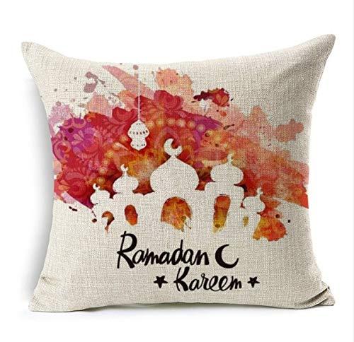 Maize store Ramadan Décoration Aquarelle Peinture Eid Mubarak Lune De Lanterne Housse De Coussin Coussin Décoratif Coussin Oreiller Canapé 45 * 45Cm 4Pcs C