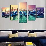LWJPD Cuadro en Lienzo 5 Partes Barco Moderno Sunset Seascape Imagen HD Impresión En Lienzo Pintura Arte De La Pared Decoración De La Pared Decoración del Hogar Obra De Arte Sin Marco 60 Inch
