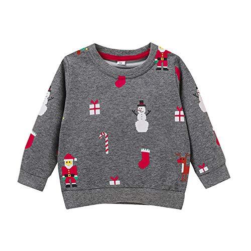 Jersey para niños de Navidad con diseño de Elfo, muñeco de nieve, Papá Noel, reno gris XS