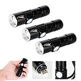 Mini LED Linterna, 3pcs USB Ricaricabile CREE Q5 LED Super Brillante 4 X Zoomable Portátil Linterna para Camping, Senderismo, Pesca y Emergencias