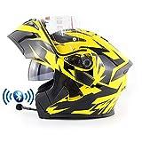Casco de Moto Modular Bluetooth Integrado con Doble Anti Niebla Visera Cascos de Motocicleta ECE Homologado a Prueba de Viento Flip Up Helmets para Adultos Hombres Mujeres 55-62CM