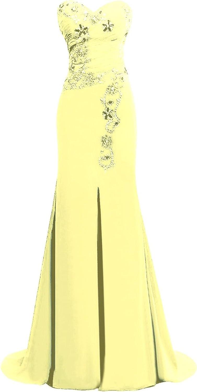 JudyBridal Women Sweetheart Beaded Mermaid Prom Dresses with Front Split
