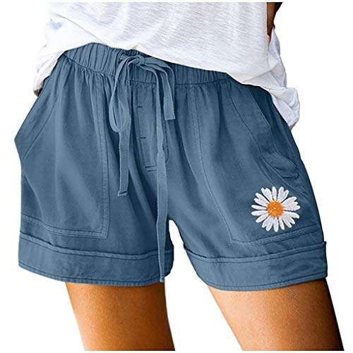 Purchase Women's Summer Hot Pant,Ladies Loose Pockets Embroidered Sport Elastic Waist Plus Size Shor...