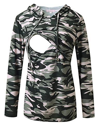 Women's Nursing Hoodie Sweatshirt Long Sleeves Casual Maternity Top Breastfeeding Clothes Camo M