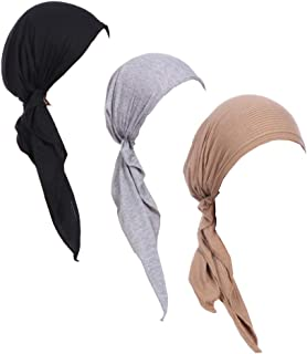 Luckystaryuan 3Pack Women's Beanie Chemo Hat Cap Pre-Tied Cancer Headscarf