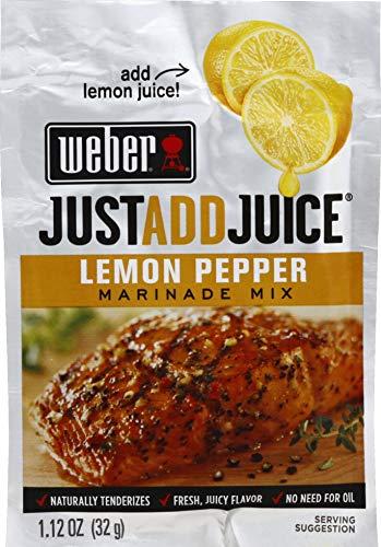 Weber Just Add Juice Marinade Mix, Lemon Pepper, 1.12 Ounce, Pack of 4