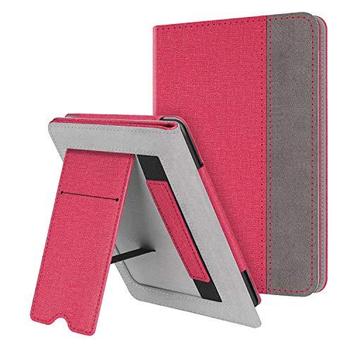 FINTIE Funda Vertical para Kindle Paperwhite (Todas Las Versiones, Incluida 10.ª Generación, 2018) - Carcasa de Cuero Sintético con Bolsillo para Tarjeta y Correa de Mano, Rojo Carmín