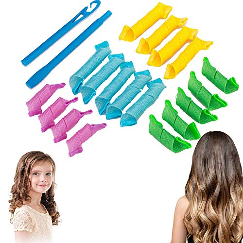 Gsyamh Flexibles Rulos Para El Pelo En Espiral Herramienta De Peluquería De Plástico Espiral Rizadores Para El Cabello Rizadores Mágicos Para El Cabello Adecuado Cabello Largo Corto,Operación Simple