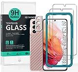 Ibywind Cristal Templado para Samsung Galaxy S21 5G(6.2') [2 Piezas],con Metálico Protector de Lente de Cámara,Atrás Pegatina Protectora Fibra de Carbono,Incluyendo Kit de instalación fácil