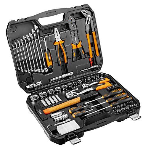 Werkzeugkoffer gefüllt, 100 Teile im praktischen Werkzeugkoffer, Chrom-Vanadium-Spezialstahl