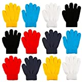 Cooraby 12 Pairs Kid's Winter Magic Gloves Children Stretchy Warm Magic Gloves Boys or Girls Knit Gloves (Yellow, Blue, Red, Black, Dark Grey, White)