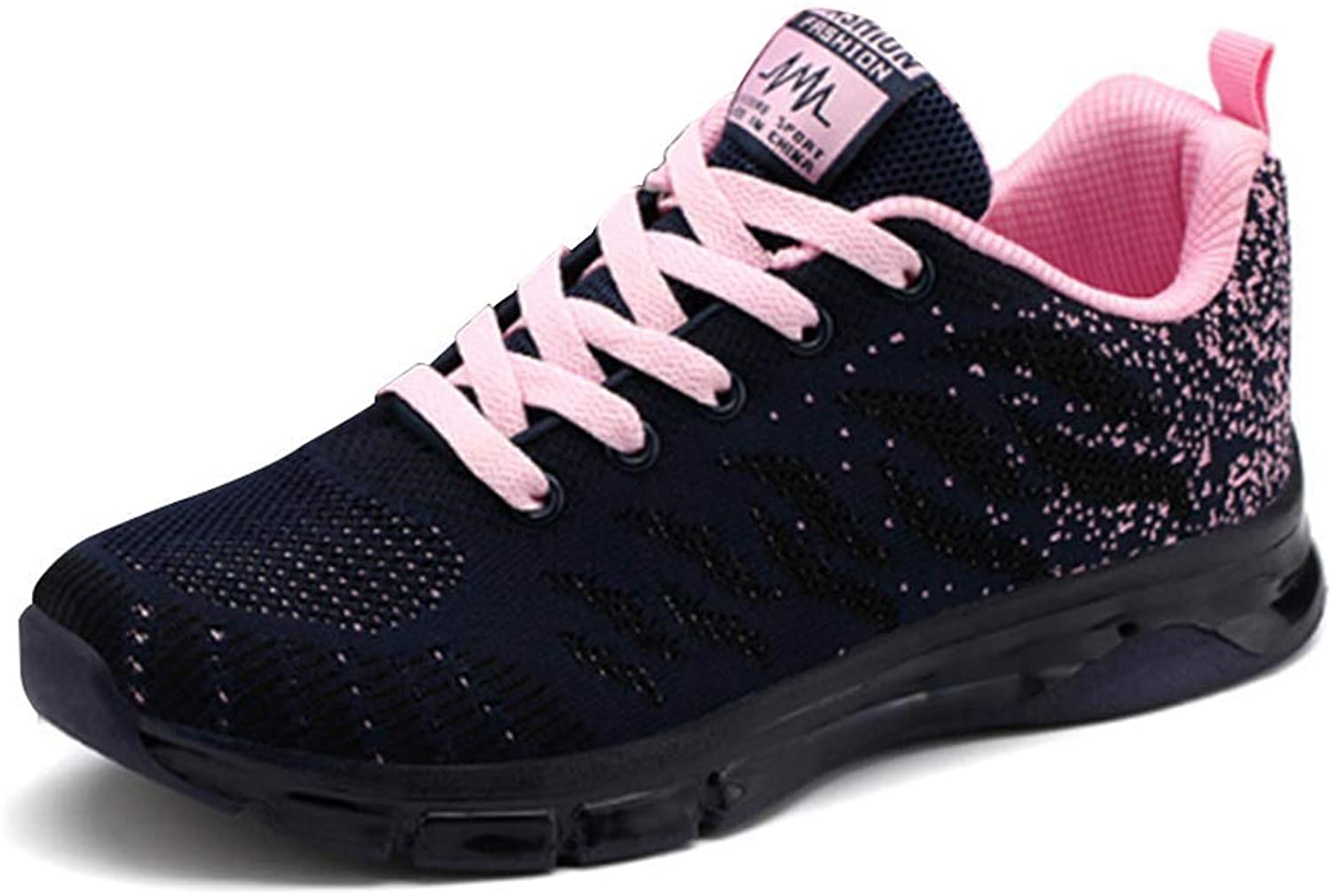 Fashion Flying Weaving Trainer, Air Cushion Mesh Breathable Fitness Sports shoes, Wear Resistant Non-slip Safety Running shoes, Student, Office, Park, Walking,Pink,40