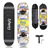 YUESUO Skateboards for Beginners,31'' Complete Skateboard for Kids+Skateboard Bag+Skate T+7 Layer Canadian Maple Double Kick Concave Cruiser Trick Skate Board