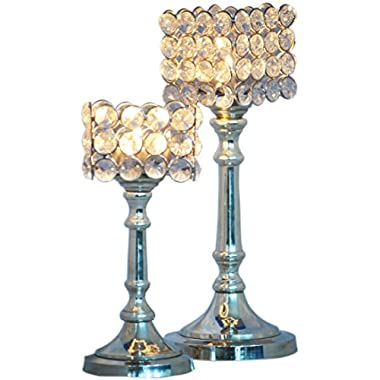 Cultural Hub® Diamond Candle Stand Crystal Design Tea Light Candle holder, Gifts & Decor with 10 Tea Lights JK-5003 (Square Shaped (Set of 2))