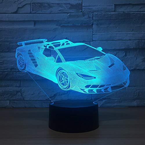 jiushixw 3D acryl nachtlampje met afstandsbediening van kleur veranderende tafellamp sportwagen maanlichtje liefde kinderogen interessante tafel baby vrienden Taiwan, zilver