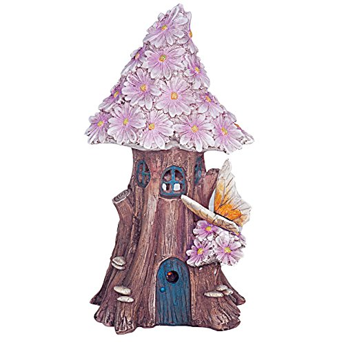 FHFY Garden Solar Powered Illuminated Fairy House/Dwelling Garden Ornament in a Tree Trunk with Pink Flowers and Butterfly …