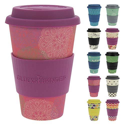 ebos Tasse en Bambou Coffee-to-go | Le gobelet du Bambou, Tasse à café, Tasse à Boire | respectueuse de l'environnement | qualité Alimentaire, adaptée au Lave-Vaisselle (Mandala Spirit Pink)