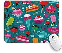 マウスパッド クールなシームレスなかわいいカップケーキキャンディとティーポットのパターン ゲーミング オフィス おしゃれ がい りめゴム ゲーミングなど ノートブックコンピュータマウスマット