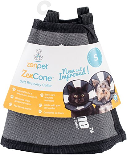 ZenPet ProCone Pet E-Collar for Dogs and Cats - Comfortable Soft Recovery Collar is Adjustable for a Secure and Custom Fit - Easy for Pets to Eat and Drink - Works with Your Pets Collar - Small