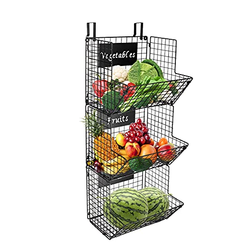 KELIVOL 3-Tier Metal Wall-Mounted Wire Baskets with Hanging Hook and Chalkboards, to Put Fruits, Vegetables, Snacks or Product Storage and Organization, etc in Kitchen