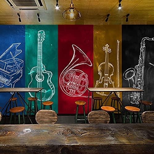 Große Wand Bar Musikzimmer Restaurant Hintergrund Hintergrundbild Klavier Gitarre Violine 140(l) x100(H) cm