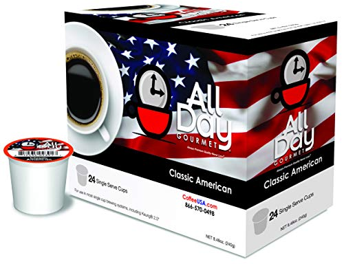 Classic American Medium Roast Compatible K-Cups - 100% Specialty Arabica Beans - Silky Smooth Aromatic Gourmet Coffee - Made in USA, 24 Count