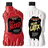 Spooktacular Creations 18 oz Liquid Latex & 18 oz Fake Halloween Vampire Blood Bottle for Halloween Costume, Zombie, Vampire and Monster Makeup & Dress Up