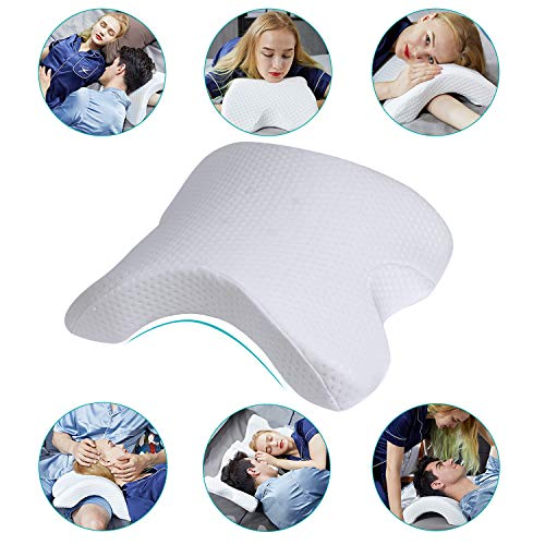 HOMCA Memory Foam Pillow for Sleeping - Slow Rebound Pressure Arched Couple Pillow for Side Sleeper Neck Back Pain Lumbar Support Office Rest Pillow