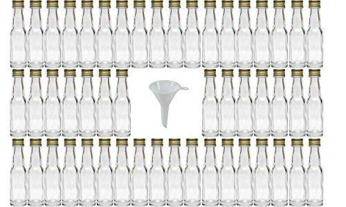 mikken 50 Mini Glasflaschen 20 ml mit Schraubverschluss inkl. einem Trichter