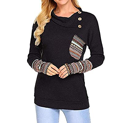 Sufeng Women Long Sleeve Patchwork Casual Pockets Button Cowl Neck Tunic Tops Blouse