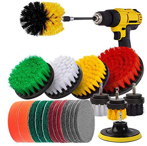 MAQ Drill Brush Attachments Set, 22 Pcs Power Scrubber Drill Brush Kit with Scrub Pad Sponge & Extend Long Attachment for Cleaning Grout Tile Car Sink Bathtub Floor Bathroom Kitchen Cleaning
