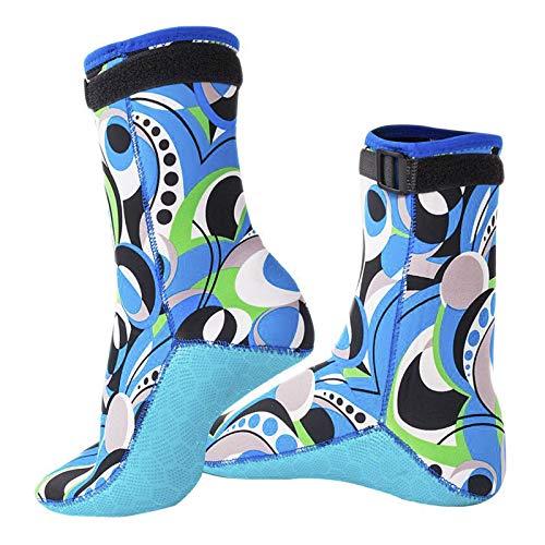 Calcetines de buceo de 3 mm para hombre, con estampado de colores y estampado de buceo, botines con correa de neopreno de becerro, calcetines de agua, surf, vela, natación, traje de neopreno