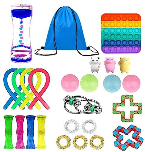 Huibao 25Pcs Fidget Toys Pack, Cheap Sensory Fidget Toys Packs with Simple Dimple, Fidget Toy Set with Stress Balls and Exercise Timer