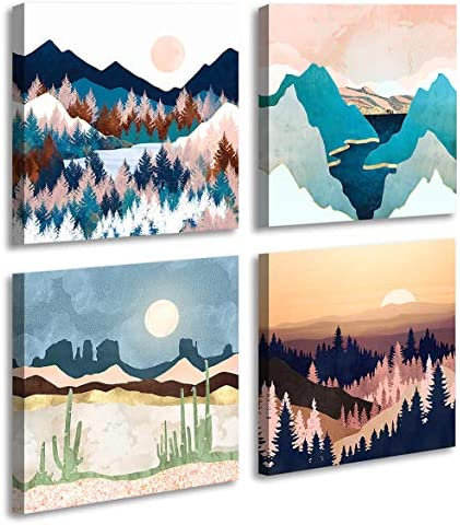 Abstract Geometric Watercolor Painting Wall Decoration Mountain River Landscape Desert Forest product image