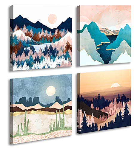 Abstract Geometric Watercolor Painting Wall Decoration-Mountain River Landscape Desert Forest Sunrise Scenery Print Picture Canvas Wall Art for Living Room Bathroom Office Home Decor 12'X12'
