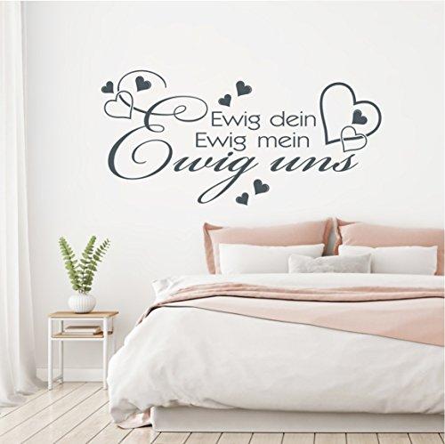 HomeTattoo ® WANDTATTOO Wandaufkleber Ewig dein Ewig mein Ewig uns Zitat Spruch Liebe 800 XL ( L x B ) ca. 58 x 120 cm (hellgrau 072)
