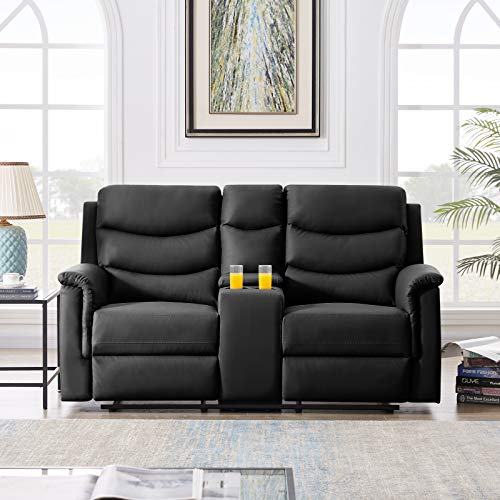 wang JESS Recliner Loveseat with Console Slate,Casual Faux Leather Double Reclining Sofa Bed Middle Backrest of 2-Seater with Cup Holder,Classic PU Theater Seating for Living Room Bedroom