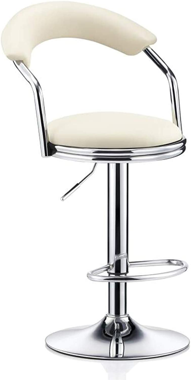 redating Bar Stool, Height Adjustable Modern Minimalist Wrought Iron Bar Chair Home High Stool with Backrest Leather Soft Cushion (color   A-White Leather)