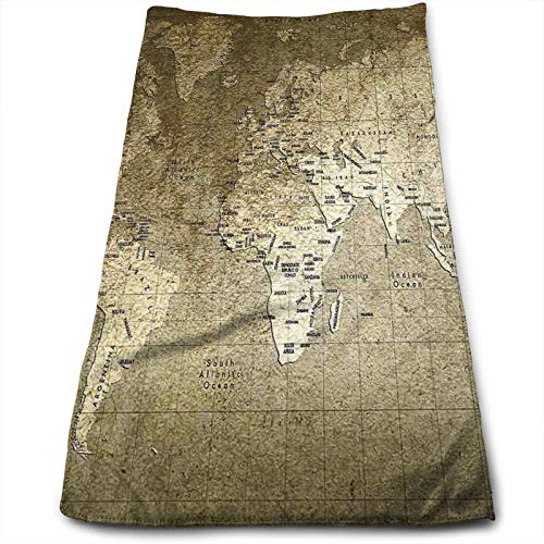 Hand Towels Bathroom Towel,Old World Map with Great Texture Nostalgic Ancient Plan Atlas Trace of Life World Print,Printed Absorbent Hand Drying Towel (12'x 27.5'