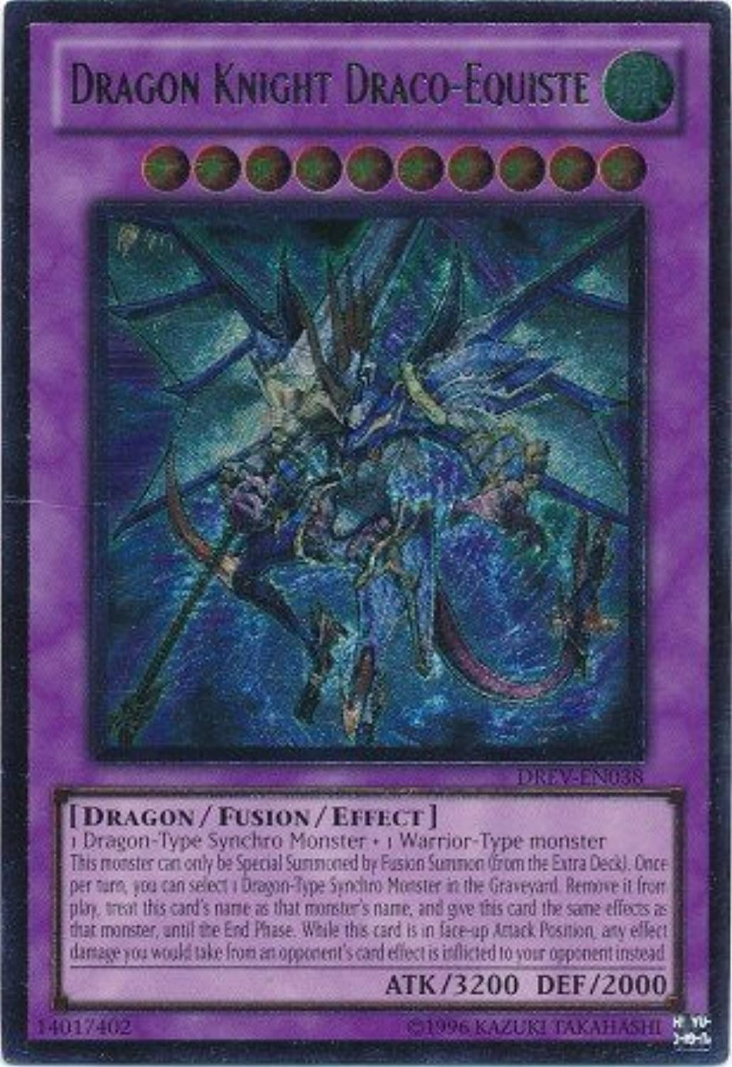 Yu-Gi-Oh  - Dragon Knight Draco-Equiste (DREV-EN038) - Duelist Revolution - Unlimited Edition - Ultimate Rare